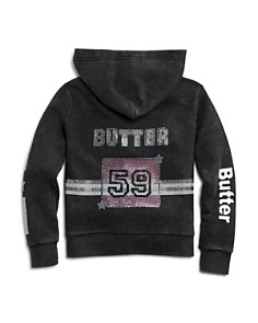 Butter - Girls' Embellished Fleece Varsity Hoodie, Little Kid, Big Kid - 100% Exclusive