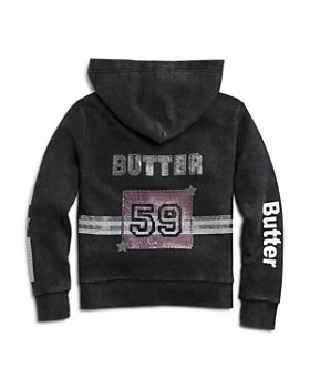 Butter - Girls' Embellished Varsity Fleece Hoodie & Jogger Pants, Little Kid, Big Kid - 100% Exclusive