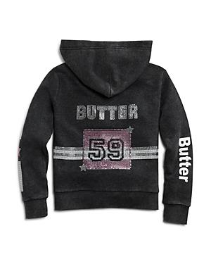 Butter Girls' Embellished Fleece Varsity Hoodie, Little Kid, Big Kid - 100% Exclusive