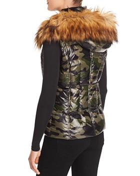 AQUA - AQUA Faux Fur-Trim Camo Puffer Vest - 100% Exclusive