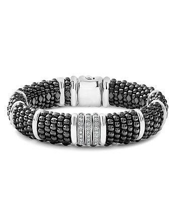 LAGOS - Sterling Silver Black Caviar Three-Bar Station Pavé Diamond & Black Ceramic Bracelet