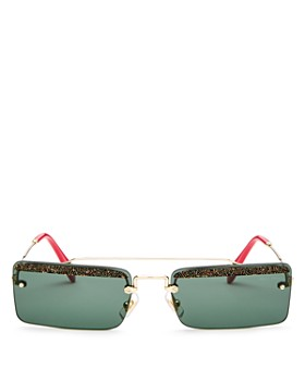 Miu Miu - Women's Glitter Brow Bar Square Sunglasses, 58mm