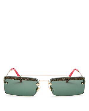 Miu Miu Women's Glitter Brow Bar Square Sunglasses, 58mm