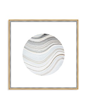 "Art Addiction Inc. - Beige/White Rock Swirl Circle #2 Wall Art, 24"" x 24"""