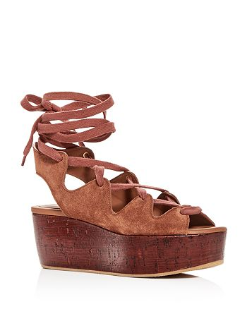 10bb1806c See by Chloé - Women's Suede Lace Up Platform Wedge Sandals