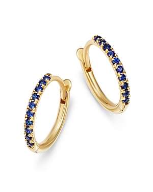 Zoe Chicco 14K Yellow Gold Blue Sapphire Huggie Hoop Earrings