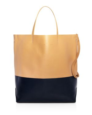 ALICE.D Large Color-Block Leather Tote Bag in Camel/Navy/Golf