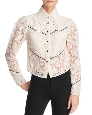 DIVINE HÉRITAGE Lace Western Shirt in Ivory