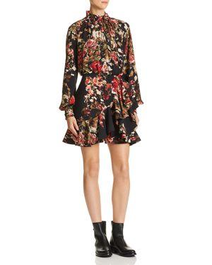 DIVINE HÉRITAGE Ruffled Floral Dress in Rose