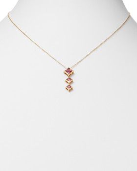 "Olivia B - 14K Yellow Gold Tiered Pink Tourmaline Drop Pendant Necklace, 17"" - 100% Exclusive"