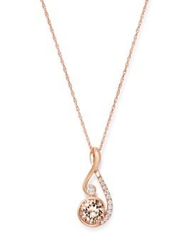 "Bloomingdale's - Morganite & Diamond Pendant Necklace in 14K Rose Gold, 18"" - 100% Exclusive"