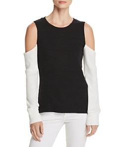 LNA - Aya Cold-Shoulder Color-Block Sweater