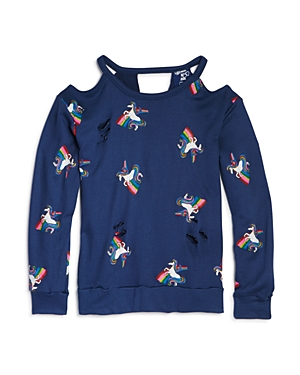 Flowers by Zoe Girls' Distressed Unicorn-Print Terry Sweatshirt - Big Kid