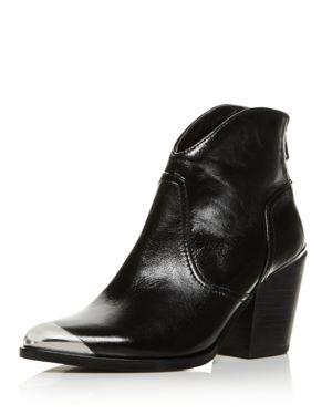 Aqua Women's Pose Pointed Toe Leather Mid-Heel Booties - 100% Exclusive