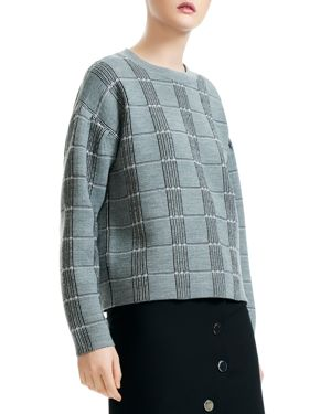 Mission Grid Pattern Wool Blend Sweater in Checked