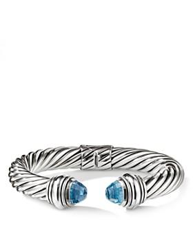 David Yurman Cable Clics Bracelet With Blue Topaz