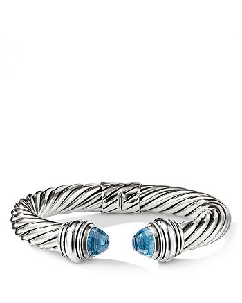 David Yurman - Cable Classics Bracelet with Blue Topaz, 10mm