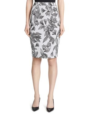 FLORAL-FRONT PENCIL SKIRT