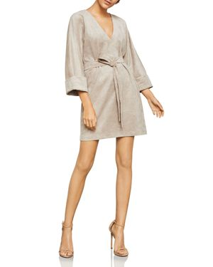 BELTED FAUX SUEDE DRESS