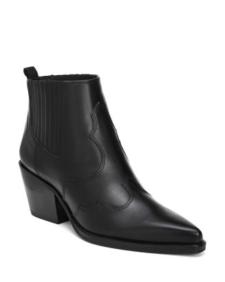 Women's Winona Pointed Toe Mid Heel Leather Booties by Sam Edelman