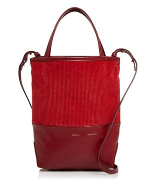 ALICE.D SMALL VELVET & LEATHER TOTE - 100% EXCLUSIVE