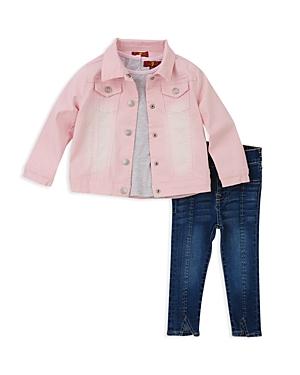 7 For All Mankind Girls Denim Jacket Tee  Jeans Set  Little Kid