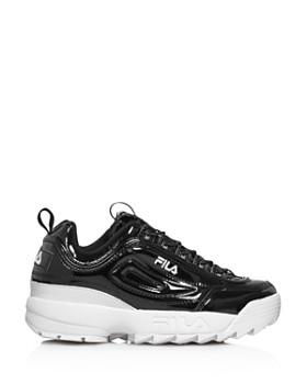 FILA - Women's Disruptor II Round Toe Patent Leather Platform Dad Sneaker