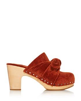 Loeffler Randall - Women's Neko Round Toe Wooden High-Heel Clogs