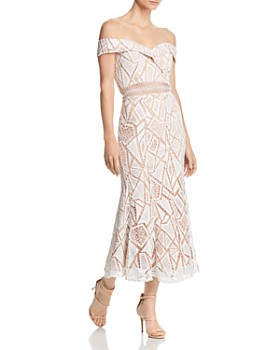 Jarlo - Off-the-Shoulder Lace Midi Dress