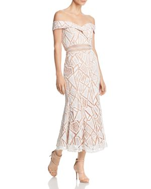 JARLO Off-The-Shoulder Lace Midi Dress in Ivory