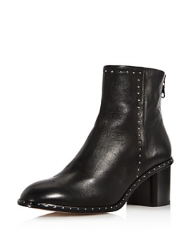 rag & bone - Women's Willow Round Toe Studded Mid-Heel Booties