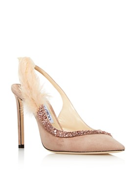 Jimmy Choo - Women's Tacey 100 Embellished Suede Slingback Pumps