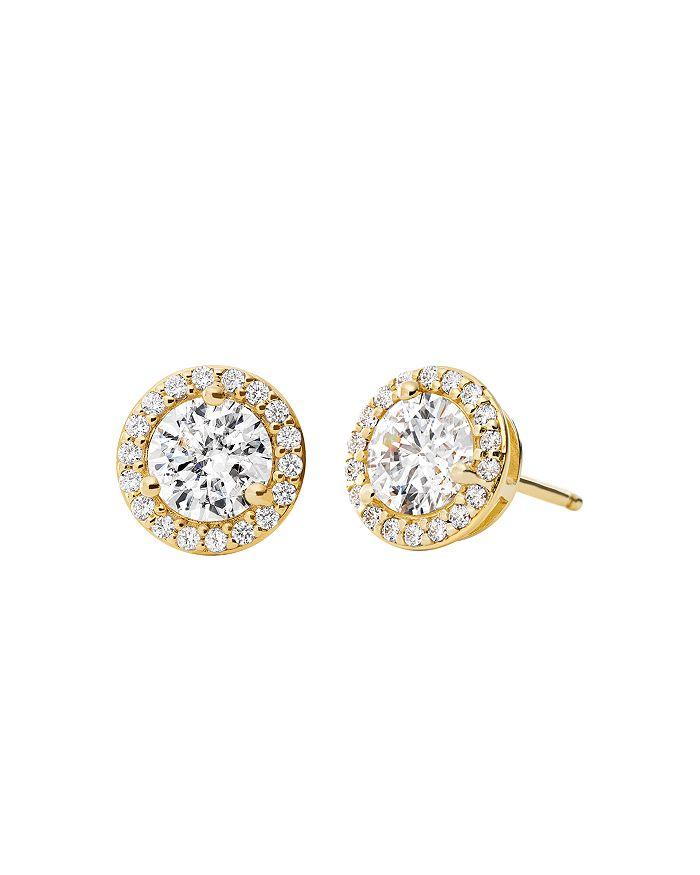 Michael Kors Sterling Silver Pave Stud Earrings In 14K ...