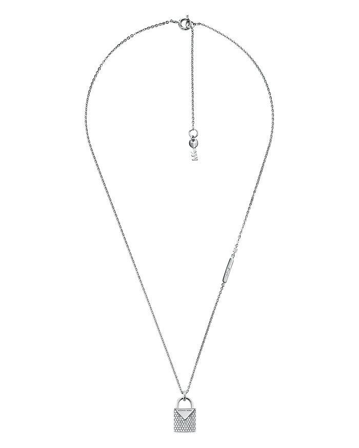 82de61366b34c Michael Kors - Kors Color Pav eacute  Sterling Silver Padlock Charm Necklace  in 14K Gold-