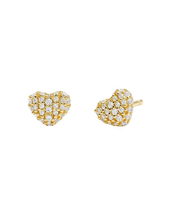 Michael Kors - Kors Love Pavé Heart Sterling Silver Stud Earrings in 14K Gold-Plated Sterling Silver, 14K Rose Gold-Plated Sterling Silver or Solid Sterling Silver