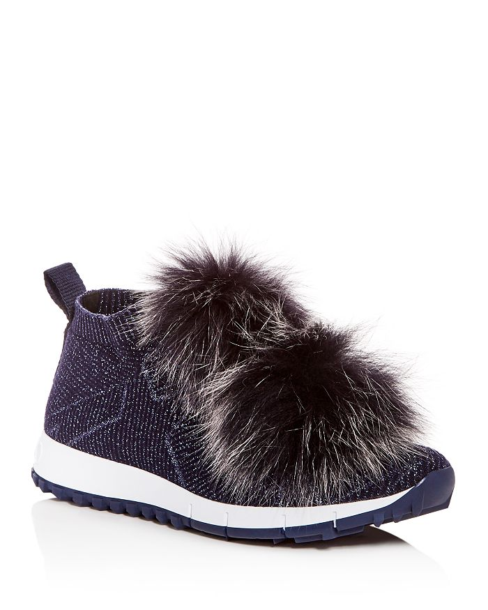 Jimmy Choo - Women's Norway Fox Fur Pom-Pom Slip-On Sneakers