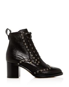 Jimmy Choo - Women's Hanah 65 Leather Wingtip Block-Heel Booties