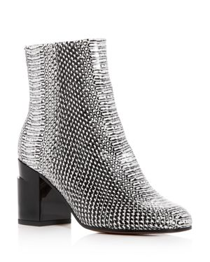 ROBERT CLERGERIE WOMEN'S KEYLA SNAKE-EMBOSSED LEATHER BLOCK-HEEL BOOTIES
