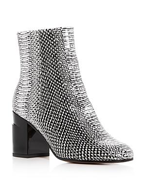 Robert Clergerie Women's Keyla Snake-Embossed Leather Block-Heel Booties