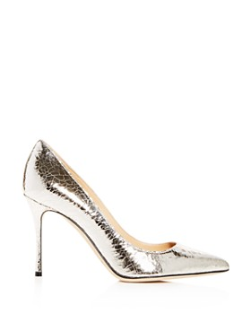 Sergio Rossi - Women's Crackled Leather Pointed Toe Pumps