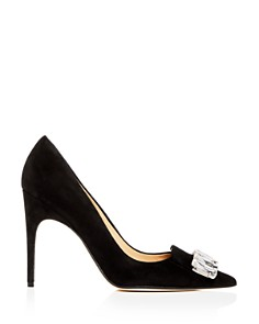 Sergio Rossi - Women's Embellished Suede Pointed Toe Pumps