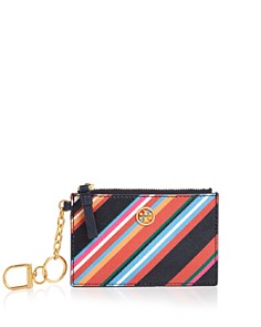 Tory Burch Robinson Striped Leather Key Fob Card Case - Bloomingdale's_0