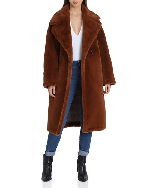 Avec Les Filles - Oversized Double-Breasted Front Teddy Bear Coat