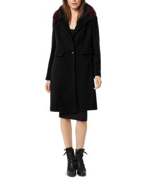 ONE MADISON Multicolor Fur Trim Coat in Black