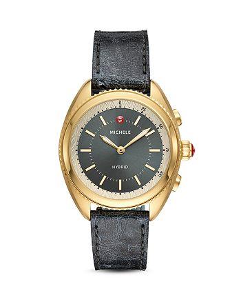 MICHELE Black Ostrich & Grey Silicone Strap Hybrid Smartwatch, 38mm |  Bloomingdale's
