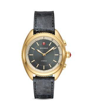 Black Ostrich & Grey Silicone Strap Hybrid Smartwatch, 38Mm in Blue/ Grey/ Gold