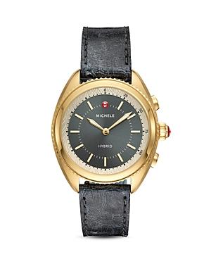Michele Black Ostrich & Grey Silicone Strap Hybrid Smartwatch, 38mm