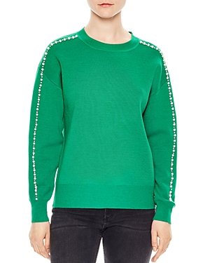 Sandro Eau Pearlescent Bead-Embellished Sweater