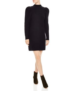 Androsace Ribbed Wool Sweater Dress in Black