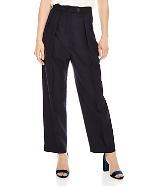 Sandro Havana Pleated High-Waisted Pants